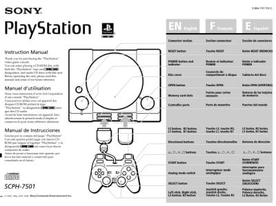 instrukcja psx scph 7501 - Instrukcje NTSC-U/C do PlayStation