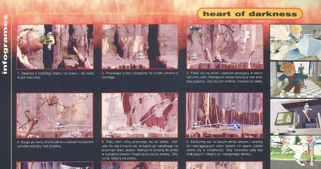 """Fragment opisu gry """"Heart of Darkness"""" zamieszczony w numerze 4/98 PlayStation Plus, str. 33"""