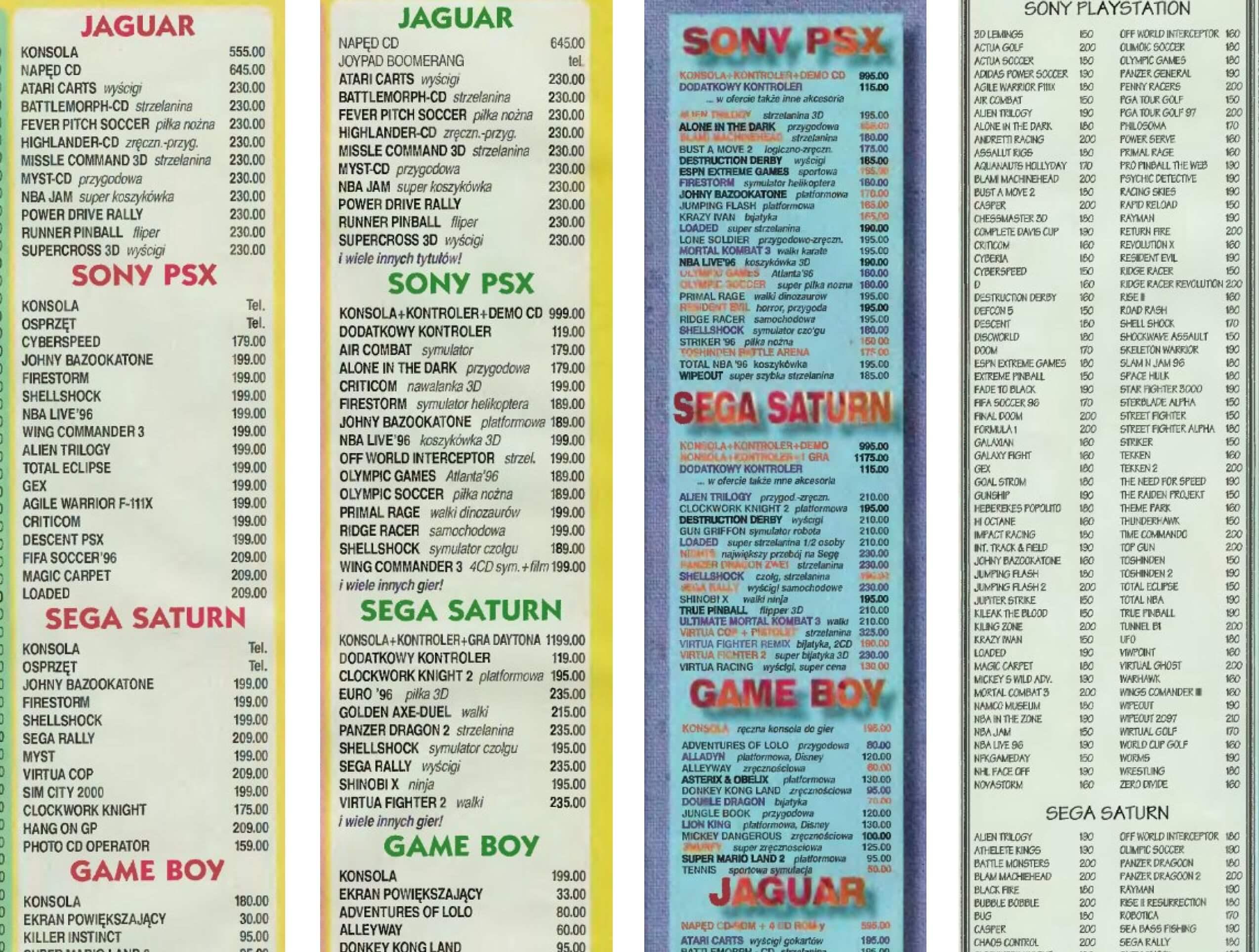 Oferty sklepów wysyłkowych z 1996 roku