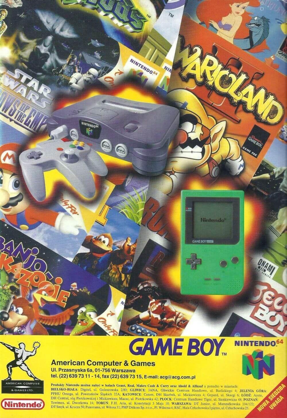 Polska reklama Nintendo 64 i Game Boy z kwietniowego numeru Neo Plus z 1998 roku