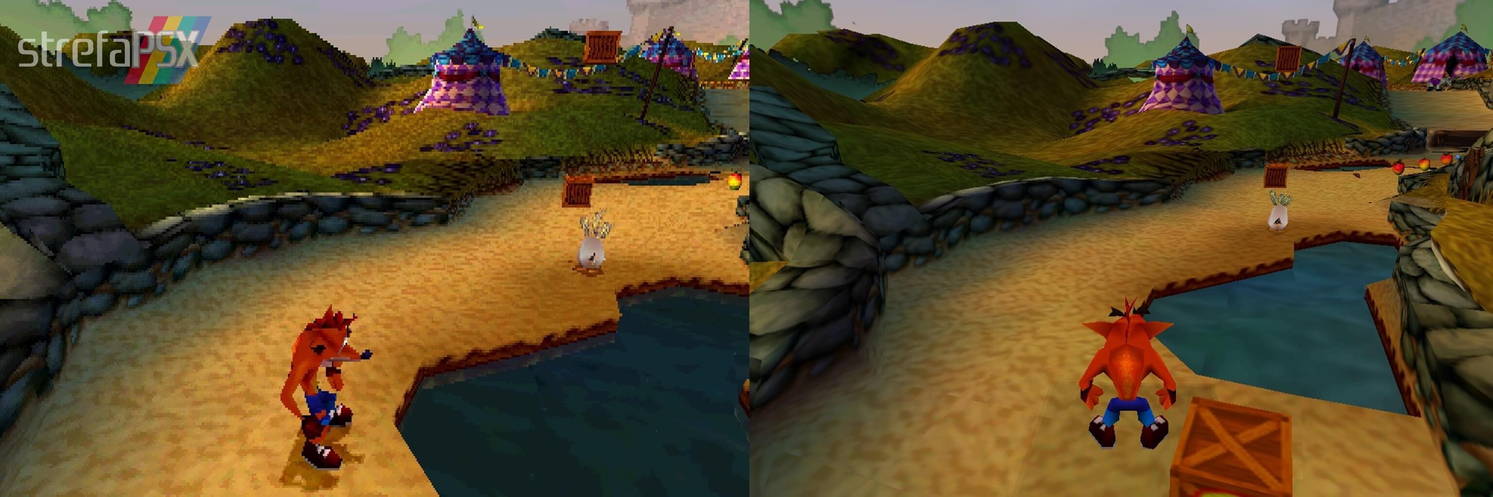Crash Bandicoot w bleem! z wyłączoną i włączoną akceleracją 3D