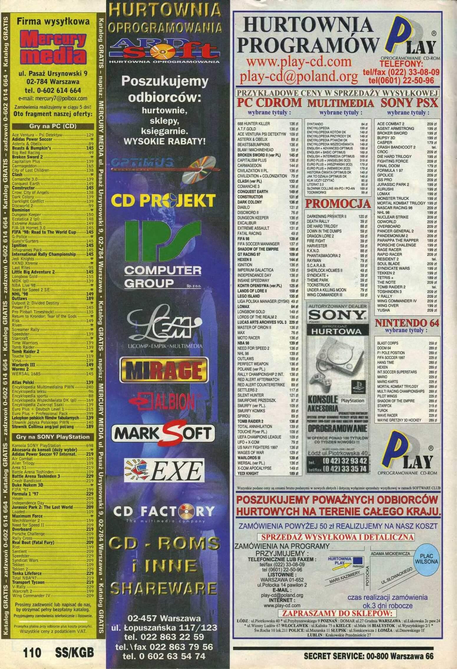 Secret Service 12.1997110q4 - Jak wyglądały ceny różnych konsol w Polsce w latach 1996-2006?