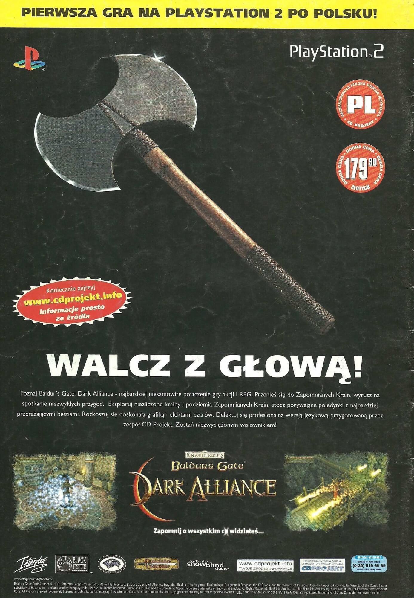baldurs gate pl ps2 - Historia CD Projekt i ich pierwszej, niedoszłej gry po polsku na PS2
