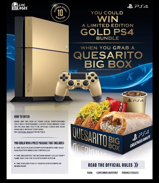 "ps4 gold taco bell limited 07 - PlayStation 4 FAT 500GB ""Taco Bell Gold"" Limited Edition"