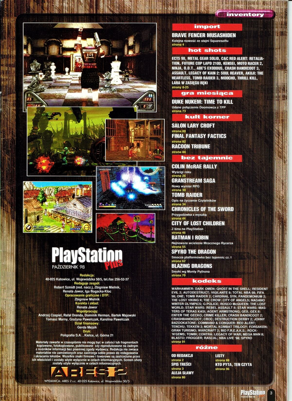 playstation plus magazyn 12 - PlayStation Plus 5/98