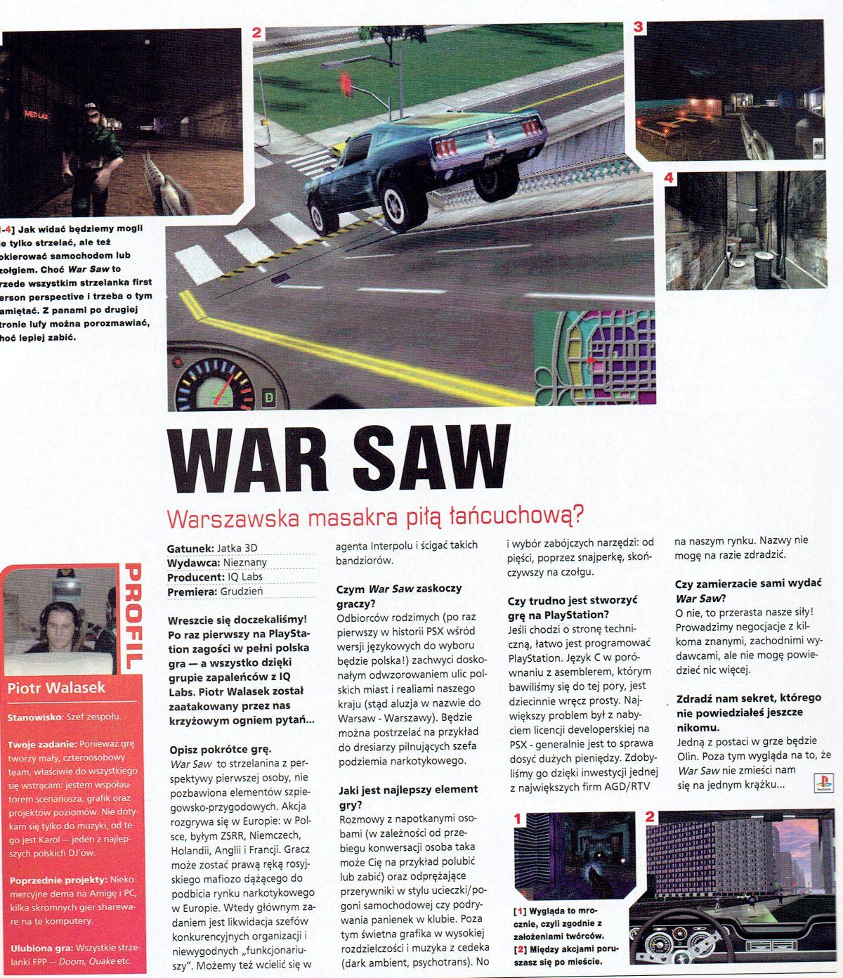 war saw - Prima Aprilis - Śladami pierwszej (niedoszłej), polskiej gry na PSX